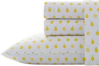 (Queen, Lemons) - Poppy & Fritz Lemons Sheet Set, Queen, Bright Yellow