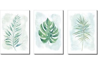 (Green tropical leaves) - 3Hdeko - Large Green Leaf Canvas Wall Art 150cm X 80cm Fresh Tropical Plants Leaves Painting Minimalist Decor for Home Living Room Bedroom, 3 Piece Botanical Prints Pictures, Ready to Hang