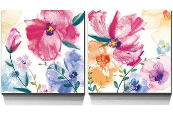 (Flower D-20x20inch x2pcs) - 3Hdeko - Pink Purple Yellow Flower Canvas Wall Art Colourful Abstract Floral Painting for Bathroom Bedroom Living Room Home Decor, 2 Piece Watercolour Poppy Picture Print Artwork, Framed, 20x40inchx2pcs