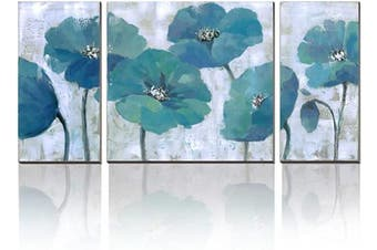 (Flower A-40x20inch) - 3Hdeko - Teal Flower Painting Aqua Blue Floral Wall Art Prints on Canvas for Living Room Bedroom 3 Pieces Abstract Wall Decor