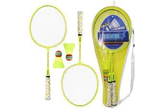 (Yellow) - Lixada 1 Pair Badminton Rackets with Balls 2 Player Badminton Set for Children Indoor Outdoor Sport Game