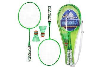 (Green) - Lixada 1 Pair Badminton Rackets with Balls 2 Player Badminton Set for Children Indoor Outdoor Sport Game