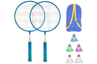 (Blue) - BESPORTBLE Badminton Set for Kids with Rackets Junior Tennis Racquet Play Game Beach Toys (Pink)