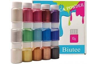(15 Colors) - Biutee Mica Powder Slime Powder Pearlescent Soap Making dye Food Grade Skin Safe Resin Dye for Soap Making/Bath Bomb/Resin Jewellery/Nail Art/Eyeshadow DIY/Candle Making (15 Colours)