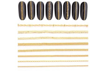 Nail Chain 3D Nail Art Decoration Gold Nail Charms 8 Strips 50cm Glitter Nail Art Design Chains Metal Punk Nail Studs Jewellery Accessory Nails Supply for Women DIY Manicure Tips Decor