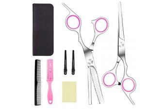Hair Cutting Scissors, Professional 8 PCS Hair Cutting Shears - Home Haircutting Barber Scissors, Stainless Steel Hairdressing Scissors with Comb, Cape & Hiarpins