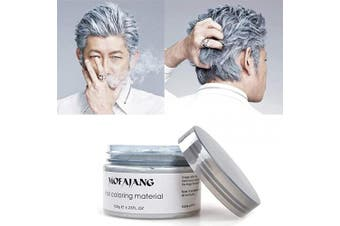 (Sliver Grey) - MOFAJANG Silver Grey Hair Wax Pomades 130ml - Natural Hair Colouring Wax Material Disposable Hair Styling Clays Ash for Cosplay, Party (Silver Grey)