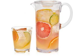 (Rocks Glasses, Pitcher (7-Piece)) - Libbey Indoors Out Break-Resistant Entertaining Set with 6 Rocks Glasses and Lidded Pitcher