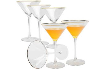 AILELAN Golden Edge Martini Glasses, Perfect Cocktail/Desserts Glasses with Stem, 240ml, Set of 6