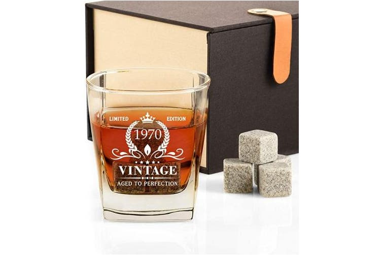 1970 50th Birthday Gifts For Men Vintage 1970 Whiskey Glass And Stones Funny 50 Birthday Gift For Dad Husband Brother 50th Anniversary Gift Ideas For Him 50 Year Old Bday Decorations Party Favours Matt Blatt