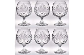 Crystal - Sherry - Brandy - Cognac - Snifter - Glasses - Set of 6 - Handcrafted - Crystal Glass - Great for Spirits - Drinks - Bourbon - Wine - 330ml - Made in Europe - by Barski
