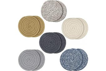 12 Pieces Braided Cup Coasters Cotton Round Woven Coasters Drink Absorbent Woven Coasters Hot Pads Mats for Drink Home Kitchen (Light Colour)