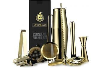 (Gold) - 11-Piece Bartender Kit Boston Cocktail Shaker Bar Set by VinoBravo : 2 Weighted Shaker Tins, Strainer Set, Double Jigger, Bar Spoon, Ice Muddler & Tong, 2 Liquor Pourers & Recipe Guide (Gold)