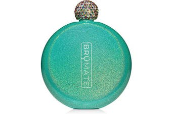 (Glitter Peacock) - Brümate Holographic Glitter Spirit Flask - 150ml Stainless Steel Pocket & Purse Liquor Flask with Rhinestone Cap - Cute, Girly & Discreet for Drinking - Perfect Gift for Women (Glitter Peacock)