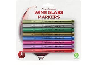 Name It Marker, Metallic Wine Glass Pens, Food Grade Ink in Fun Colours! Personalise Your Drinks Like Wine Charms , Set of 8