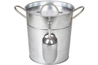 T586 4L Silver Metal Galvanised Double Walled Ice Bucket Set With Lid And Scoop