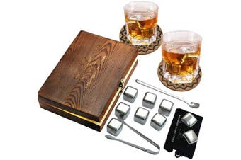 (Stainless Steel) - AYAOQIANG Whiskey Stones,Reusable Chilling Stainless Steel Whiskey Rocks,Ice Stones Set of 9,Come with Stainless Steel Tongs,Storage Pouch and Classy Coasters