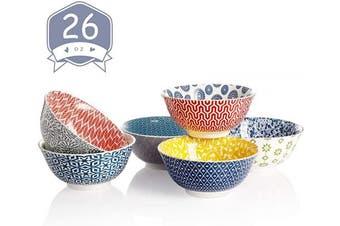 (17cm ) - Amazingware Porcelain Bowls - 770ml for Cereal, Soup, Salad and Fruit, Set of 6, Assorted Designs