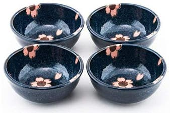 Hinomaru Collection Blue Sakura Authentic Japanese Porcelain Small Bowl Set of 4 Perfect for Rice Bowl Snack Dessert Ice Cream Appetiser Made In Japan