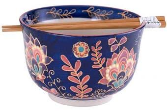 (Batik Floral) - Hinomaru Collection Multi Purpose Ramen Udon Soba Pho Noodle Donburi Rice Tayo Bowl with Chopsticks Gift Set 16cm Diameter (Batik Floral)