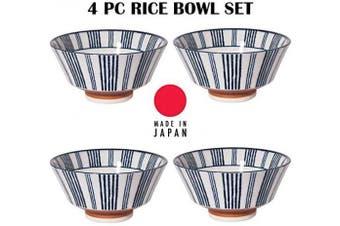 (Shimanon Line Design) - Hinomaru Collection Authentic Japanese Minoyaki Porcelain Sometsuke Rice Bowl Tayo Multi Purpose Bowls Set 210ml 13cm W Set of 4 Rice Bowls Set (Shimanon Line Design)