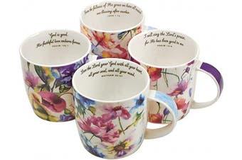 (Seeds of Love, Set 4/10oz) - Christian Art Gifts Ceramic Coffee/Tea Mug Set for Women | Seeds of Love Garden Blooms Design Bible Verse Mug Set | Boxed Set/4 Coffee Cups