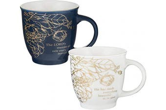 (Beautiful Morning, Set 2/14oz.) - Christian Art Gifts Ceramic Coffee/Tea Mug Set for Women | A Beautiful Morning Ecclesiastes/Lamentations Bible Verse Mug Set | Boxed Set/2 Coffee Cups