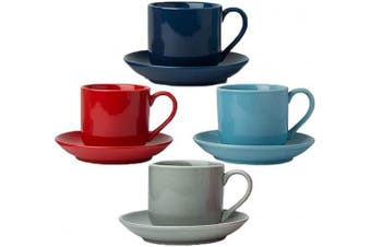(Multicolor) - 120ml Espresso Cups Set of 4 with Matching Saucers - Premium Porcelain, 8 Piece Gift Box Demitasse Set - Red, Blue & Grey – Italian Caffè Mugs, Turkish Coffee Cup – Lungo Shots, Dopio Double Shot