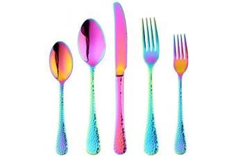 (5-Rainbow) - Bisda 5-Piece Rainbow Silverware Flatware Set Service for 1 Stainless Steel Cutlery Set Include Dinner Knife Table Fork Table Spoon Salad Fork Tea Spoon for Wedding, Dishwasher Safe