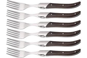 (Brown) - Laguiole by FlyingColors Dinner Forks Set Stainless Steel, Wenge Wood Handle, Gift Box, 6 Pieces