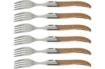 (Rubber wood) - Laguiole by FlyingColors Dinner Forks Set Stainless Steel, Rubber Wood Handle, Gift Box, 6 Pieces