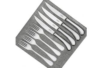 (Steak Knife Fork Set 8) - Steak Knives and Forks Set of 4-8 Piece - Shiny Polished Blade & Handle, Premium Stainless Steel - Dishwasher Safe - Straight Edge Non Serrated - Tableware Cutlery Set Dinner Knife & Fork Set UMOGI