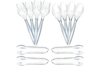 12 Piece Plastic Serving Utensils Set | Clear Disposable Serving Utensils | 4 Serving Spoons, 4 Serving Forks, 4 Serving Tongs | Party Serving Spoon Set | Salad Buffet Serving Utensils