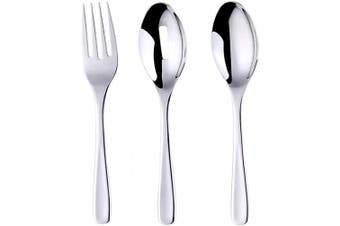 (Silver) - Long Handle Serving Set, Stainless Steel Polished Serving Spoon, Fork, Slotted Spoons, Set of 3 (Silver)