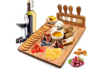 Bamboo Cheese Board Meat Charcuterie Platter Serving Tray W/ 4 Tableware Stainless Steel Knife, Home Kitchen Food Server Plate Cutter Cutlery Tool, Entertain Family Friend Guest as a Gift (36cm x 28cm )