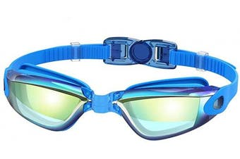 (#C-Blue (colourful lense)) - Adepoy Swimming Goggles Anti Fog Crystal Clear Vision with UV Protection No Leaking Easy to Adjust Comfortable for Adults Men Women-Black Blue