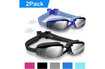 (BlackBlue-, 2 PCS) - arteesol Swimming Goggles, Anti Fog Swim Goggles Crystal Clear 180° Panoramic Vision Mirrored with 100% UV Protective Coating with Protective Case and Earplug for Adults and Kids