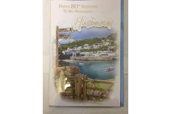Happy 80th Birthday to My Wonderful Husband Birthday Card Age 80 Eighty Coastal Scene 3D/Foil Detail