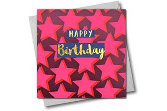Happy Birthday Greeting Card, Dark Pink Stars, Text Foiled in Shiny Gold, Open, for Him, for Her, Friend, Mum, Dad, Son, Friend, Sister, Brother