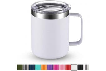 (1 Pack, White) - Civago Stainless Steel Coffee Mug Cup with Handle, 350ml Double Wall Vacuum Insulated Tumbler with Lid Travel Friendly (White, 1 Pack)