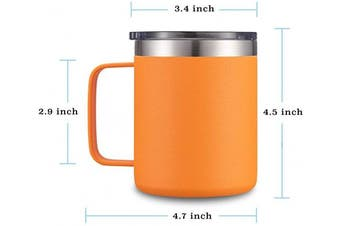 (1 Pack, Orange) - Civago Stainless Steel Coffee Mug Cup with Handle, 350ml Double Wall Vacuum Insulated Tumbler with Lid Travel Friendly (Orange, 1 Pack)