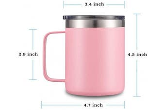 (1 Pack, Pink) - Civago Stainless Steel Coffee Mug Cup with Handle, 350ml Double Wall Vacuum Insulated Tumbler with Lid Travel Friendly (Pink, 1 Pack)