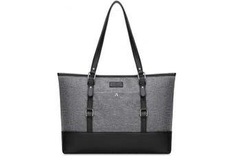 (Grey) - Plambag Unisex Lightweight 40cm Laptop Tote Bag for Ladies and Men with Handy Pockets, Unisex Computer Shoulder Work Bag Purse, Large Women Handbag, Large Men Tote Bag, Black, Grey,Purple