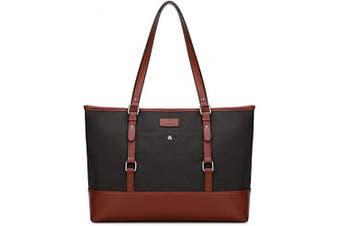(Black) - Plambag Unisex Lightweight 40cm Laptop Tote Bag for Ladies and Men with Handy Pockets, Unisex Computer Shoulder Work Bag Purse, Large Women Handbag, Large Men Tote Bag, Black, Grey,Purple