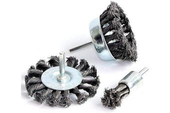 FPPO 3PCS 7.6cm Knotted Wire Wheel Cup Brush and Twist End Brush Set,0.6cm Shank for Drill,Perfect For Rust Removal, Corrosion and Paint