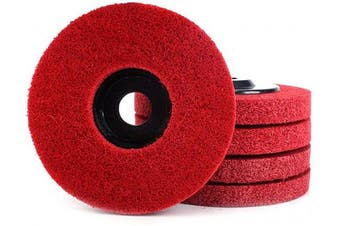 (Red) - 5Pcs 10cm Nylon Fibre Buffing Polishing Wheel Sanding Abrasive Disc red 9P for Angle Grinders 10016