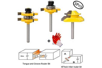 (1/4''Tongue and Groove Router Bit Tool Set) - Tongue and Groove Router Bit Tool Set with Adjustable 0.6cm Shank T Shape Wood Milling Cutter with 45 Degree Lock Mitre Router Bit 1.9cm Stock Joint Router Bit for Wood Drawer, Window, Cupboard