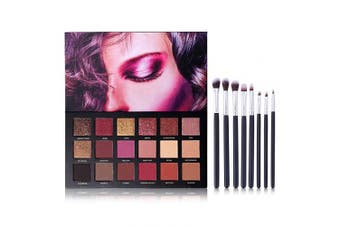 (18 Color Eyeshadow + 8pcs Brushes) - UCANBE 18 Colour Eyeshadow Palette + 8pcs Multifunction Makeup Brushes Set Kit, Highly Pigmented Matte Shimmer Blending Eye Shadow Powder Pallet