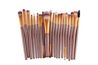 KOLIGHT Set of 20pcs Cosmetic Makeup Brushes Set Powder Foundation Eyeliner Eyeshadow Lip Brush for Beautiful Female (Gold)