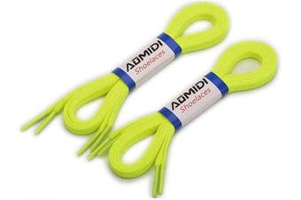 (183 cm, Greenish Yellow) - Flat Shoelaces (2 Pairs) - For sneakers and converse shoelaces replacements